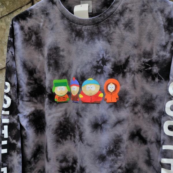 ハフ × サウス パーク クリスタル ウォッシュ ロングスリーブ Tシャツ ブラック|rawdrip|02