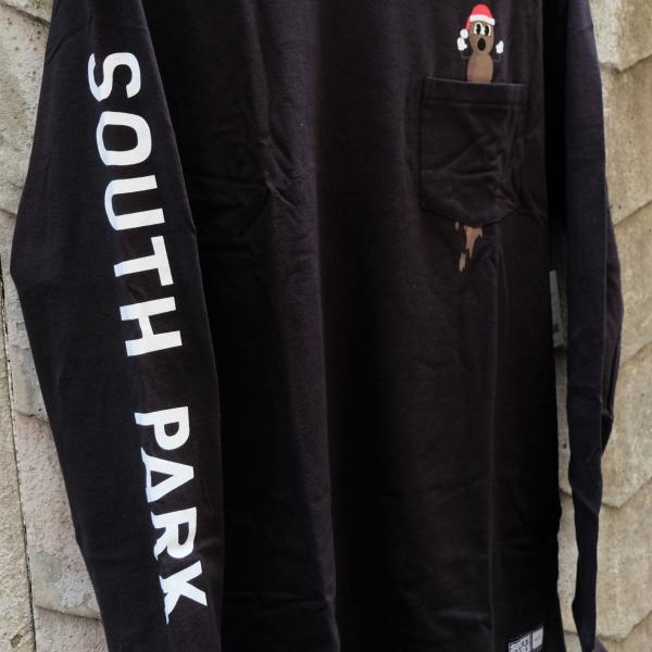 ハフ × サウス パーク ミスター ハンキー ロングスリーブ ポケット Tシャツ ブラック|rawdrip|03
