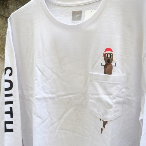 ハフ × サウス パーク ミスター ハンキー ロングスリーブ ポケット Tシャツ ホワイト|rawdrip|02