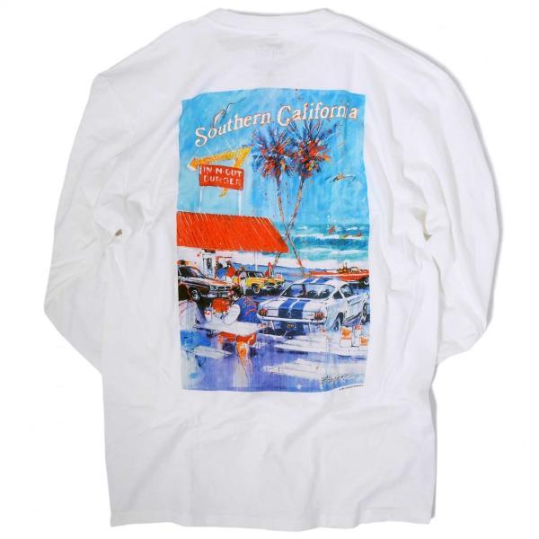 インアウトバーガー #90 アット ザ ビーチ ロングスリーブ Tシャツ ホワイト rawdrip