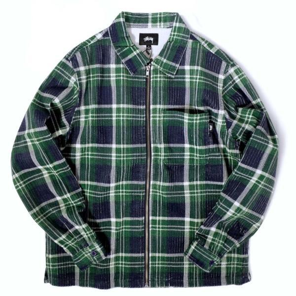 ステューシー ビッグ ウェイル コード ジップ アップ L/S シャツ グリーンプレイド メンズ/長袖シャツ|rawdrip