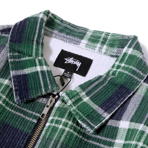 ステューシー ビッグ ウェイル コード ジップ アップ L/S シャツ グリーンプレイド メンズ/長袖シャツ|rawdrip|02