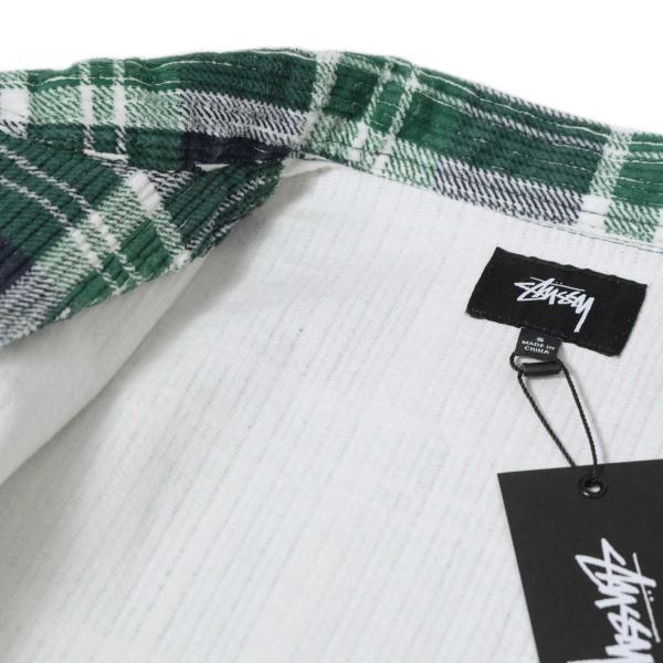 ステューシー ビッグ ウェイル コード ジップ アップ L/S シャツ グリーンプレイド メンズ/長袖シャツ|rawdrip|03