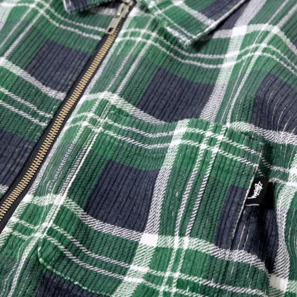 ステューシー ビッグ ウェイル コード ジップ アップ L/S シャツ グリーンプレイド メンズ/長袖シャツ|rawdrip|04