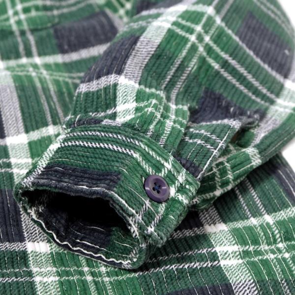 ステューシー ビッグ ウェイル コード ジップ アップ L/S シャツ グリーンプレイド メンズ/長袖シャツ|rawdrip|05