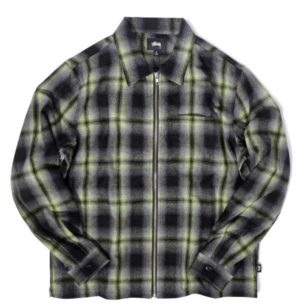 ステューシー ガン プレイド ジップアップ ブラック メンズ/長袖シャツ|rawdrip
