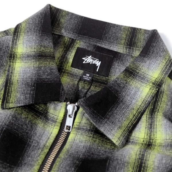 ステューシー ガン プレイド ジップアップ ブラック メンズ/長袖シャツ|rawdrip|02