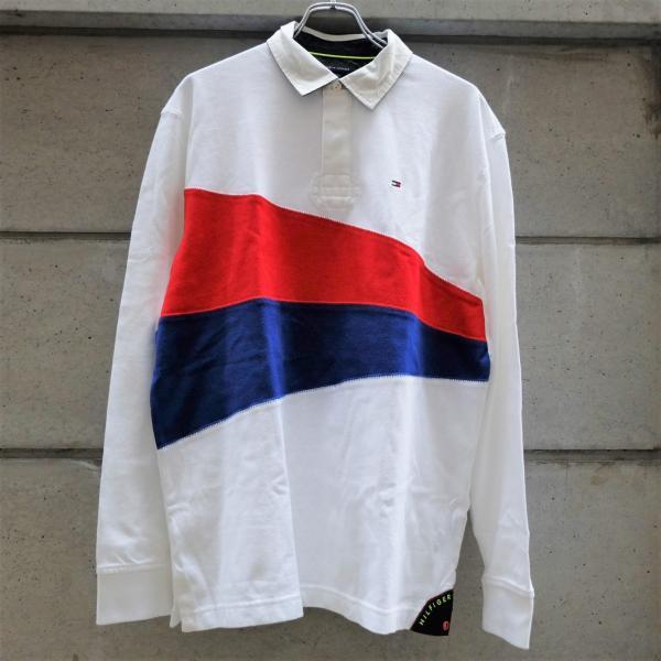 トミー ヒルフィガー ラグビー シャツ ホワイト ブルー レッド|rawdrip