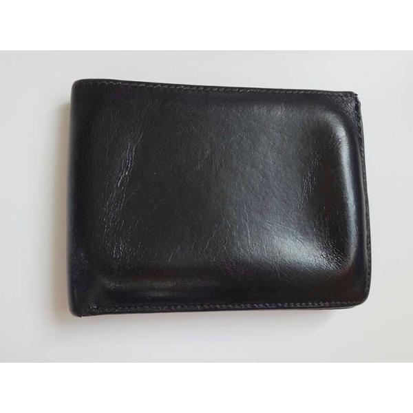 HERMESエルメス二つ折り財布レザーブラックメンズサイフコインケース有り 中古 h-002_yo