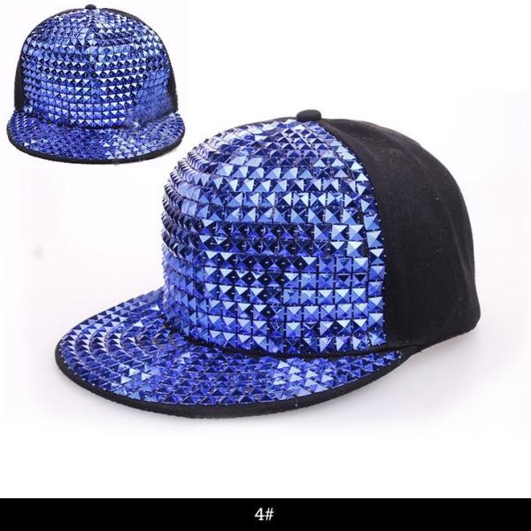 キャップ 帽子 5カラースタッズ付き キラキラ 帽子 スナップ ストーン ビジュー ペア カップル ヒップホップ ストリート ダンス ファッション 踊り 衣装