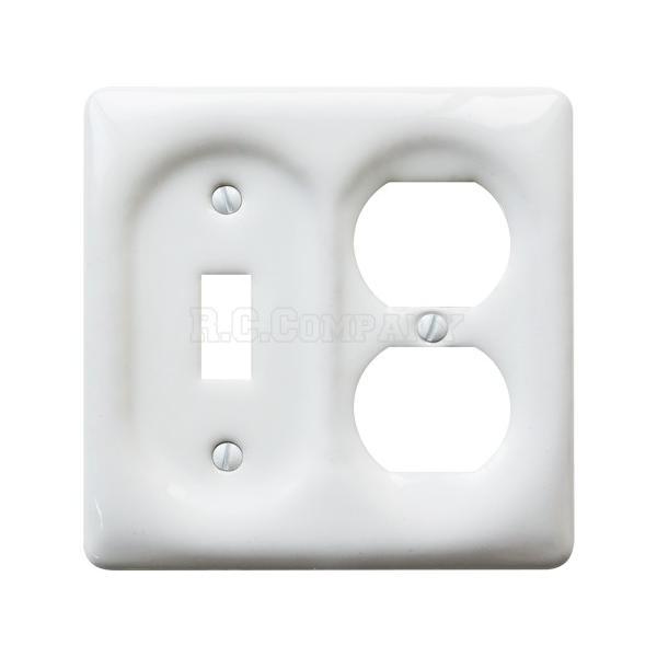 セラミックコンビネーションプレート(ホワイト)1口スイッチ2口コンセント