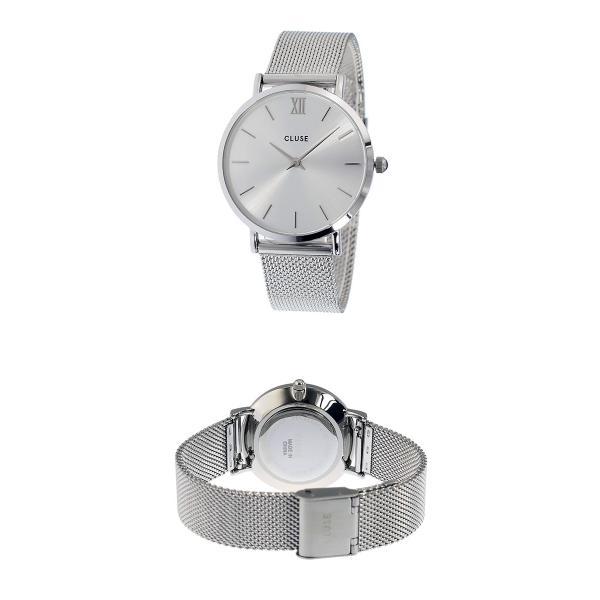 クルース CLUSE ミニュイ メッシュベルト 33mm レディース 腕時計 CL30023 シルバー/シルバー