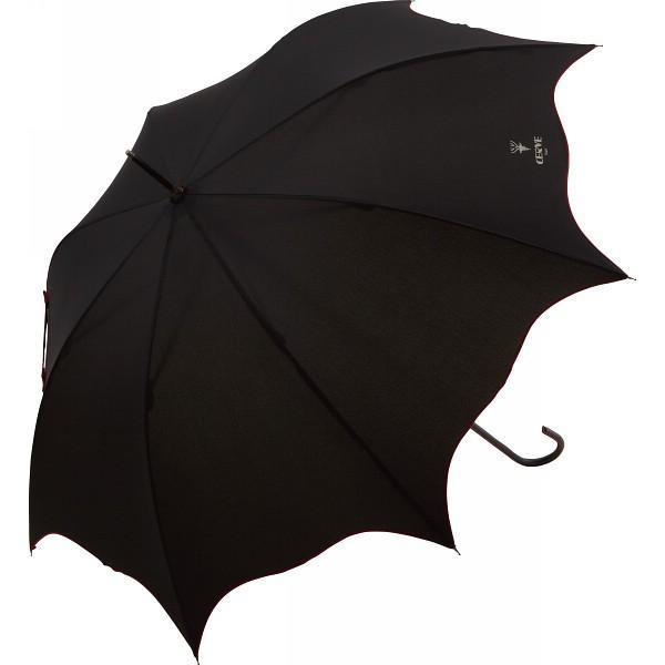 チェルベ アーチカットレディスジャンプ傘 ブラック 雨具 長傘 婦人長傘 OCVL-25B 代引不可