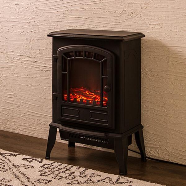 暖炉型ファンヒーター Bolivia ボリビア セラミックファンヒーター ファンヒーター ヒーター 暖房 暖炉 ストーブ ブラック