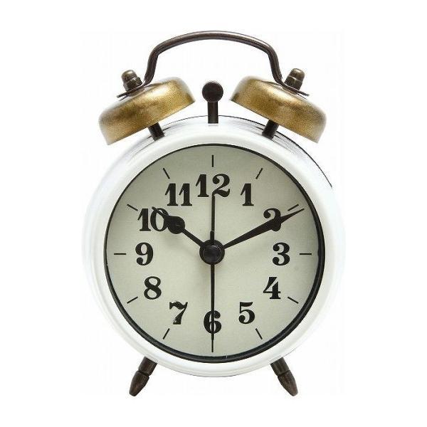 置時計 ベルアラーム W83×D40×H118mm スチール ウォッチ おしゃれ アイボリー 代引不可