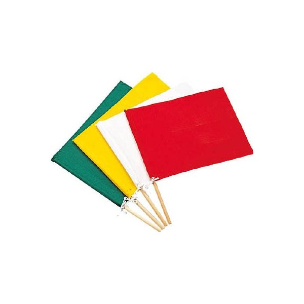 緑十字 手旗 白 300 450 ×420mm 布+木製棒 245001 保護具・安全ベスト