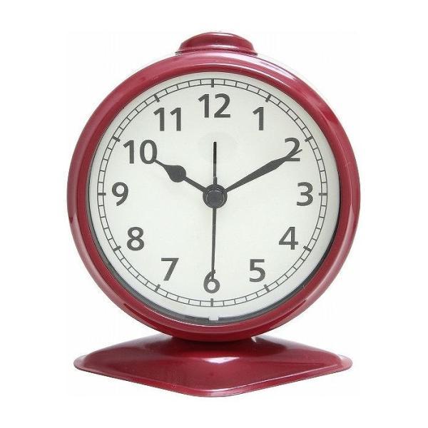 置時計 テーブルアラーム W97×D60×H114mm スチール ウォッチ おしゃれ レッド 代引不可