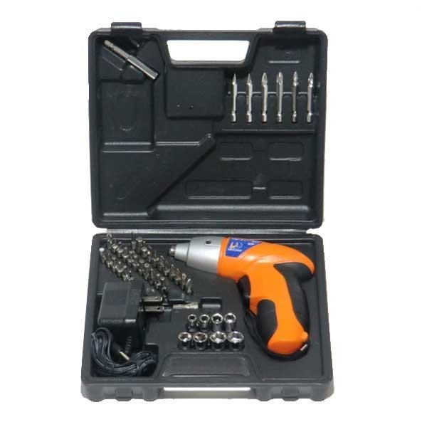充電式 電動ドライバー 工具42個セット コードレス LEDライト 1ボックス収納 大工 DIY 代引不可