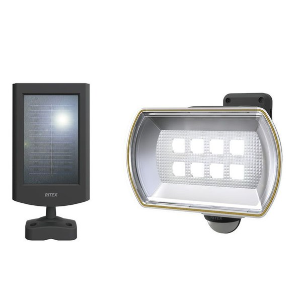 LEDセンサーライト ムサシ RITEX ライテックス S-80L ソーラー式 8Wワイド×1灯 明るさ800ルーメン 人感センサーライト 屋外 防犯グッズ 防犯 玄関
