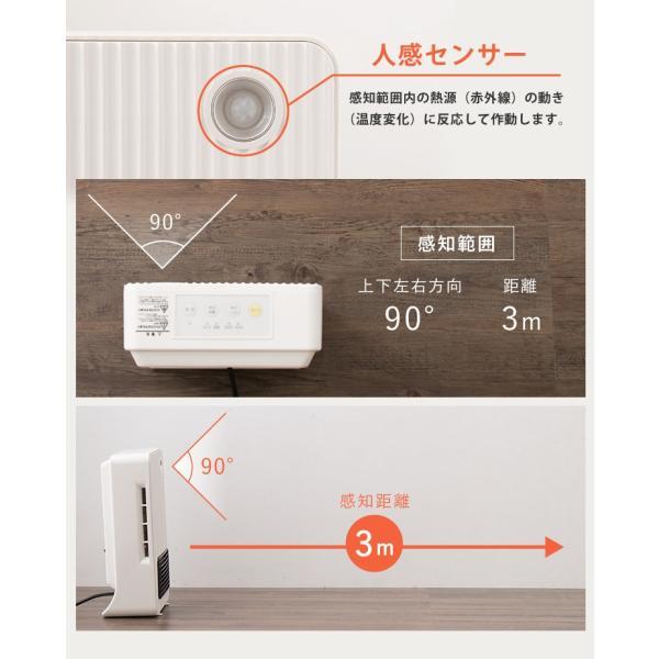 ヒーター simplus セラミックファンヒーター 2段階 600W/1200W 人感センサー付 SP-RH1206 4色 ミニ 小型 スリム コンパクト 足元 暖房