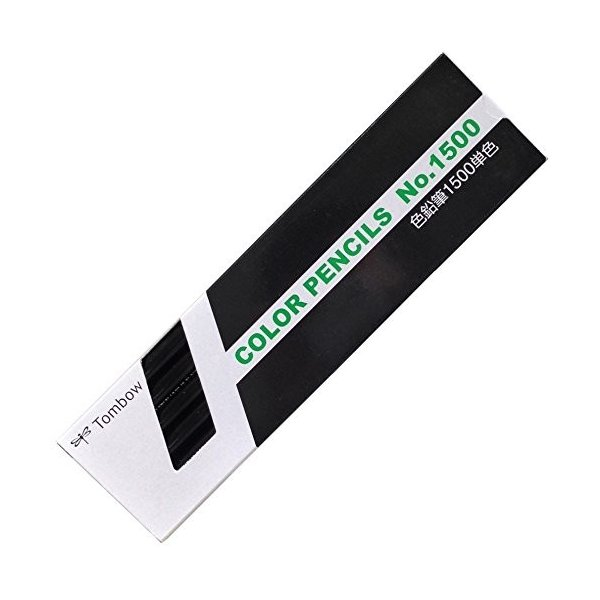 トンボ鉛筆 色鉛筆 1500単色 1500-33 黒 1ダース 1500-33クロ