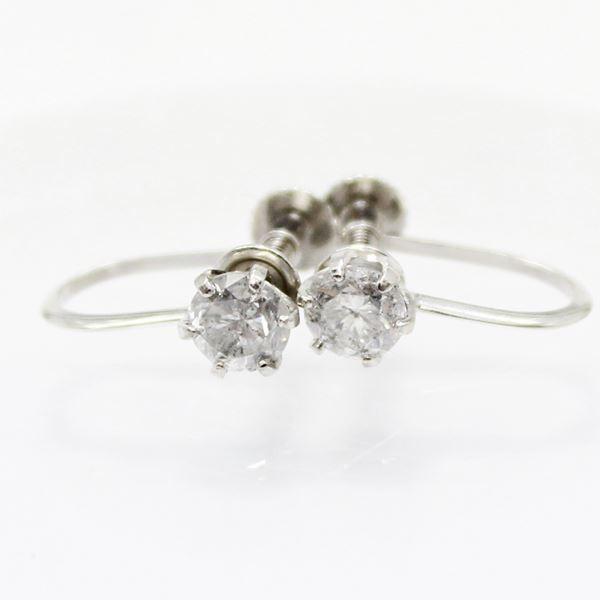 プラチナ0.6ctダイヤリング 指輪6爪スクリュー式イヤリング