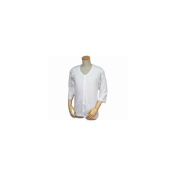 ウエル 紳士用 キルト八分袖前開きシャツ(ワンタッチテープ式) /W460 LL 白