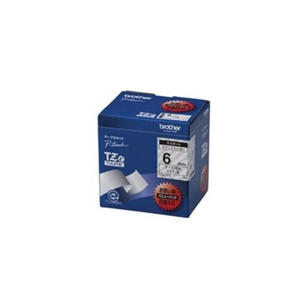 (業務用5セット) brother ブラザー工業 文字テープ/ラベルプリンター用テープ 〔幅:6mm〕 5個入り TZe-111V 透明に黒文字 〔×5セット〕