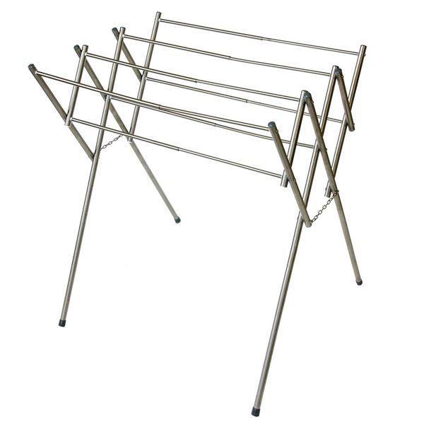 折りたたみタオル干しハンガー(物干しスタンド/洗濯物干し) ステンレス製 幅45〜77cm 大判 伸縮