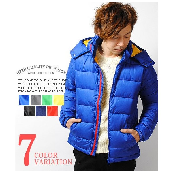 ダウンジャケット 高密度タフタ ファイバーダウンジャケット メンズ ブラック ブルー アウター 冬物|re-ap