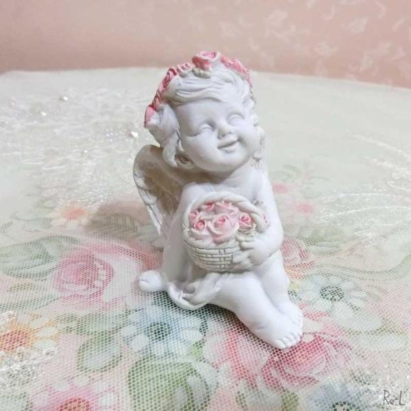 天使置物 かわいいエンジェルの置物 花かごエンゼル 薔薇の冠 ローズ  天使 エンジェル 置物 かわいい バラ REQSC-634A