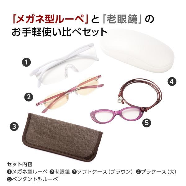ルーペメガネ 満喫セット おしゃれ 拡大鏡 老眼鏡 メガネ型ルーペ  女性用 リーディンググラス ペンダントルーペ セット商品(LS-003) ケース付き