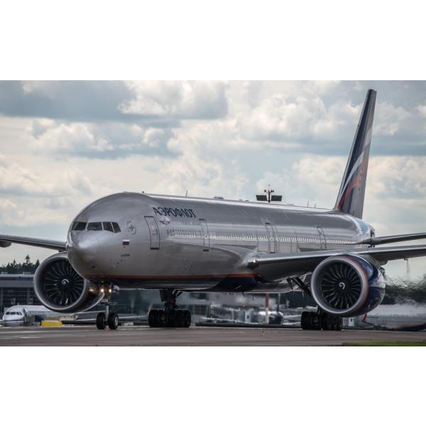絵画風 壁紙ポスター  アエロフロート・ロシア航空 SU ボーイング 777-300ER (773B) Aeroflot Russian Airlines B777-027W2 (ワイド版 603mm×376mm)