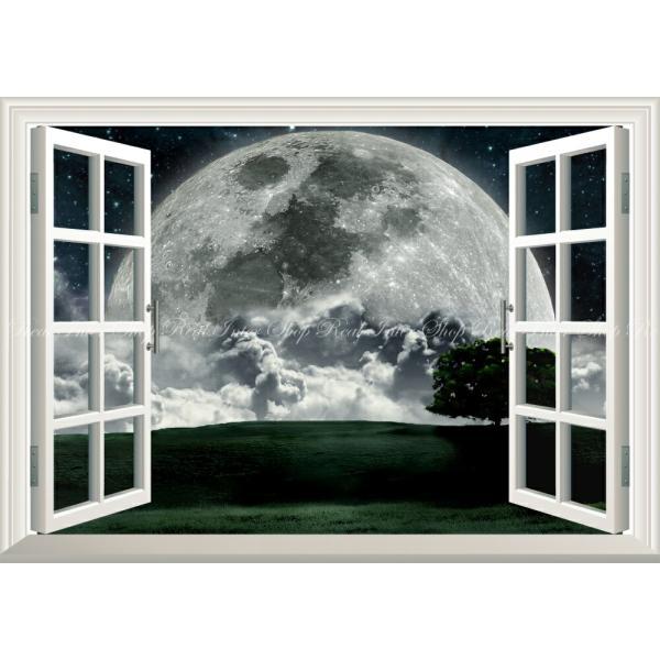 絵画風 壁紙ポスター  -窓の景色- 月 ビッグムーン ズームアップ 地平線 天体 神秘 癒し パワー 【窓仕様】 MON-007MA1 (A1版 830mm×585mm)|real-inter