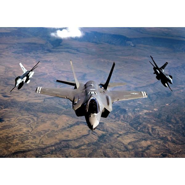 絵画風 壁紙ポスター  ステルス戦闘機 F-35A ライトニング2 USエアフォース 統合打撃戦闘機 JSF ミリタリー キャラクロ XF35-003A2 (A2版 594mm×420mm)