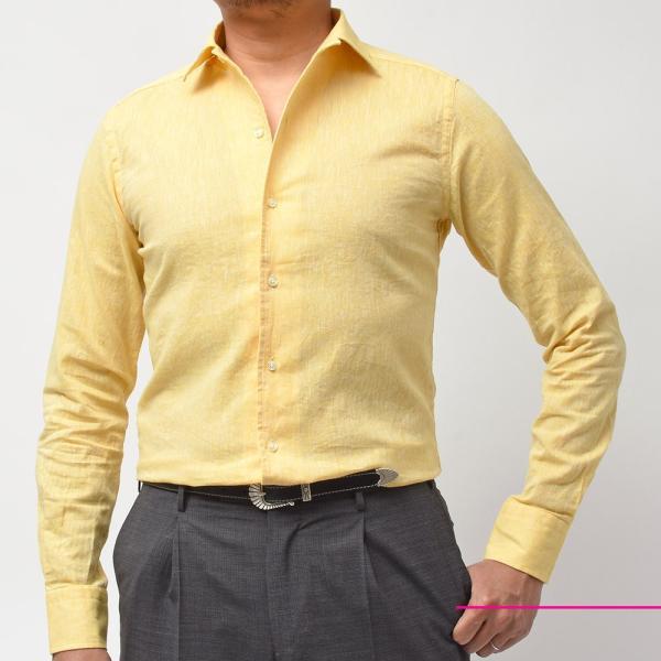 GUY ROVER ギローバー リネン コットン ソリッド イタリアンカラーシャツ|realclothing|02