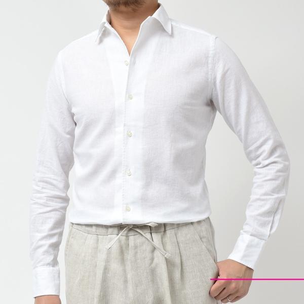 GUY ROVER ギローバー リネン コットン ソリッド イタリアンカラーシャツ|realclothing|08