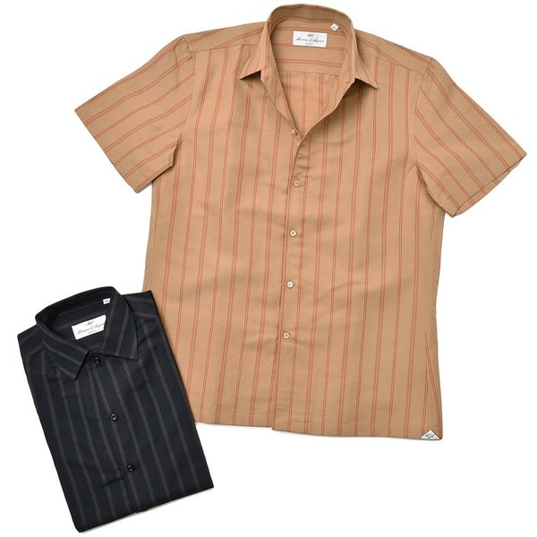 Massimo d'Augusto マッシモ ダウグスト LEO コットン リネン ストライプ イタリアンカラー ショートスリーブ シャツ|realclothing