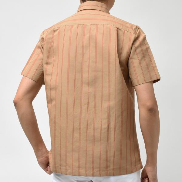 Massimo d'Augusto マッシモ ダウグスト LEO コットン リネン ストライプ イタリアンカラー ショートスリーブ シャツ|realclothing|09