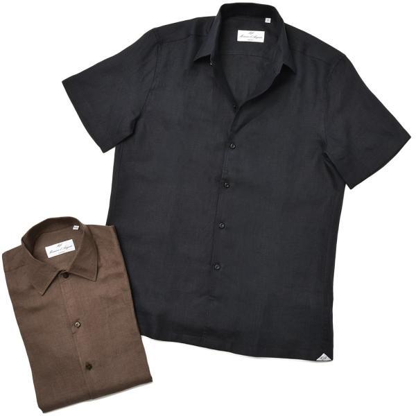 Massimo d'Augusto マッシモ ダウグスト LEO リネン イタリアンカラー ショートスリーブ シャツ|realclothing