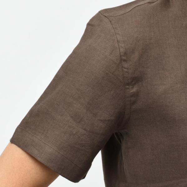 Massimo d'Augusto マッシモ ダウグスト LEO リネン イタリアンカラー ショートスリーブ シャツ|realclothing|05