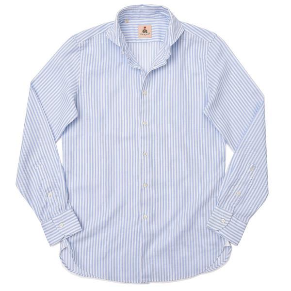 GUY ROVER(ギローバー)コットン メッシュ ストライプ ワイドカラーシャツ realclothing