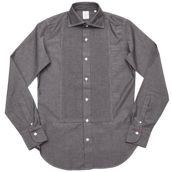 BOLZONELLA(ボルゾネッラ)コットン シャンブレー レギュラーカラー ブザムシャツ realclothing
