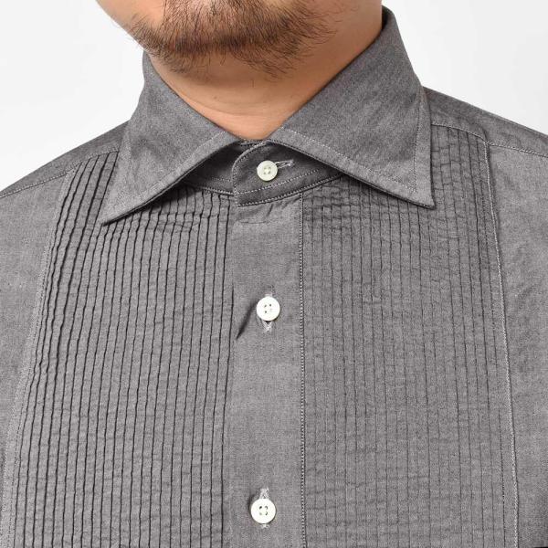 BOLZONELLA(ボルゾネッラ)コットン シャンブレー レギュラーカラー ブザムシャツ realclothing 05