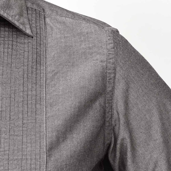 BOLZONELLA(ボルゾネッラ)コットン シャンブレー レギュラーカラー ブザムシャツ realclothing 06