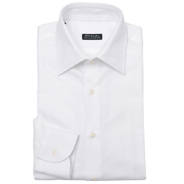 Stile Latino(スティレ ラティーノ)コットン ヘリンボーン ワイドカラー ドレスシャツ realclothing