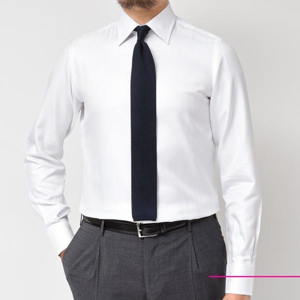 Stile Latino(スティレ ラティーノ)コットン ヘリンボーン ワイドカラー ドレスシャツ realclothing 03