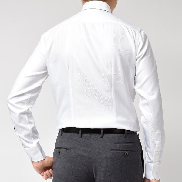 Stile Latino(スティレ ラティーノ)コットン ヘリンボーン ワイドカラー ドレスシャツ realclothing 04