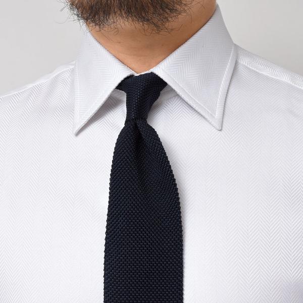 Stile Latino(スティレ ラティーノ)コットン ヘリンボーン ワイドカラー ドレスシャツ realclothing 05