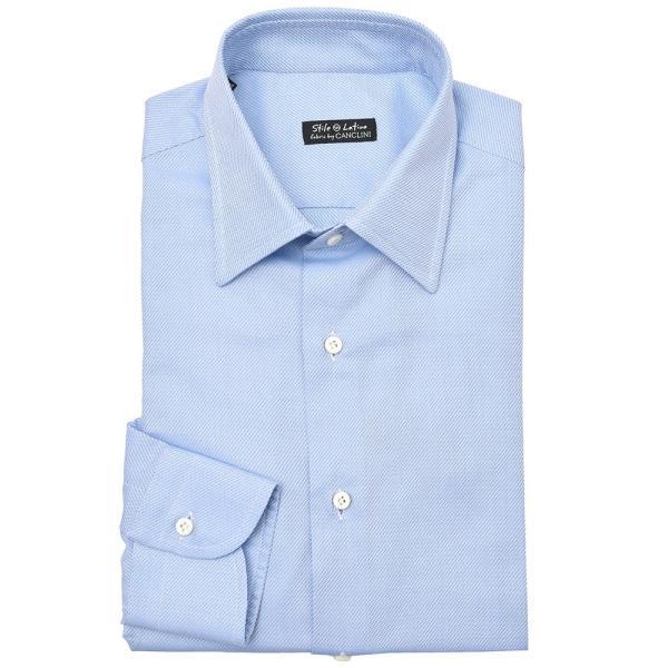 Stile Latino(スティレ ラティーノ)コットン ジャガード ワイドカラー ドレスシャツ|realclothing